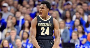 LEXINGTON, KY - JANUARY 12: Aaron Nesmith #24 of the Vanderbilt Commodores celebrates in the game against the Kentucky Wildcats at Rupp Arena on January 12, 2019 in Lexington, Kentucky.