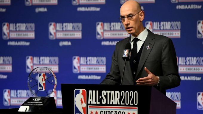 CHICAGO, ILLINOIS - FEBRUARY 15: NBA Commissioner Adam Silver speaks to the media during a press conference at the United Center on February 15, 2020 in Chicago, Illinois. NOTE TO USER: User expressly acknowledges and agrees that, by downloading and or using this photograph, User is consenting to the terms and conditions of the Getty Images License Agreement.