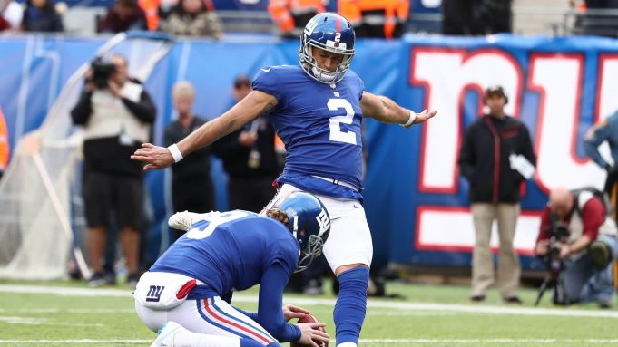 EAST RUTHERFORD, NJ - OCTOBER 28: Aldrick Rosas #2 of the New York Giants kicks a field goal against the Washington Redskins during their game at MetLife Stadium on October 28, 2018 in East Rutherford, New Jersey.