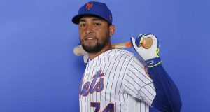 PORT ST. LUCIE, FLORIDA - FEBRUARY 21: Ali Sanchez #74 of the New York Mets poses for a photo on Photo Day at First Data Field on February 21, 2019 in Port St. Lucie, Florida.