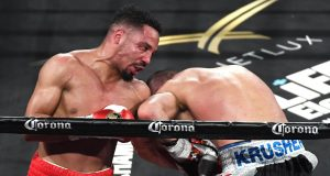 LAS VEGAS, NV - JUNE 17: Andre Ward (L) hits Sergey Kovalev with a left in the eighth round of their light heavyweight championship bout at the Mandalay Bay Events Center on June 17, 2017 in Las Vegas, Nevada. Ward retained his WBA/IBF/WBO titles with a TKO in the eighth round.