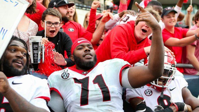 ATLANTA, GA - NOVEMBER 30: Andrew Thomas #71 of the Georgia Bulldogs celebrate's following the Georgia Bulldogs win over the Georgia Tech Yellow Jackets 52-7 at Bobby Dodd Stadium on November 30, 2019 in Atlanta, Georgia.
