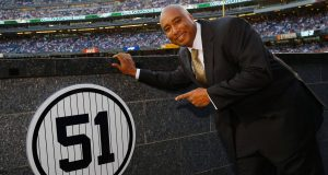 NEW YORK, NY - MAY 24: Bernie Williams stands next to his retired number in Monument Park prior to the game between the New York Yankees and the Texas Rangers at Yankee Stadium on May 24, 2015 in New York City.