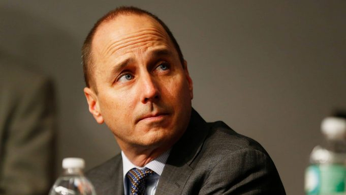 NEW YORK, NY - DECEMBER 20: General Manager Brian Cashman looks on during Carlos Beltran's introductory press conference at Yankee Stadium on December 20, 2013 in the Bronx borough of New York City.