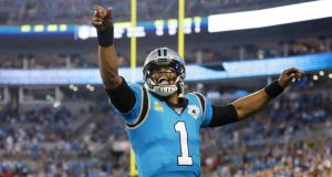 CHARLOTTE, NORTH CAROLINA - SEPTEMBER 12: Quarterback Cam Newton #1 of the Carolina Panthers reacts in the first quarter of the game against the Tampa Bay Buccaneers at Bank of America Stadium on September 12, 2019 in Charlotte, North Carolina.