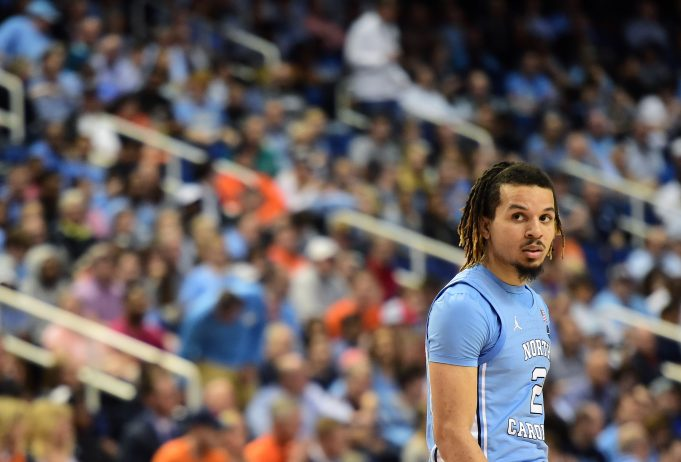 GREENSBORO, NORTH CAROLINA - MARCH 11: Cole Anthony #2 of the North Carolina Tar Heels looks on during their game against the Syracuse Orange in the second round of the 2020 Men's ACC Basketball Tournament at Greensboro Coliseum on March 11, 2020 in Greensboro, North Carolina.