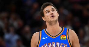 SALT LAKE CITY, UT - OCTOBER 23: Danilo Gallinari #8 of the Oklahoma City Thunder looks on during a opening night game against the Utah Jazz at Vivint Smart Home Arena on October 23, 2019 in Salt Lake City, Utah. NOTE TO USER: User expressly acknowledges and agrees that, by downloading and or using this photograph, User is consenting to the terms and conditions of the Getty Images License Agreement.
