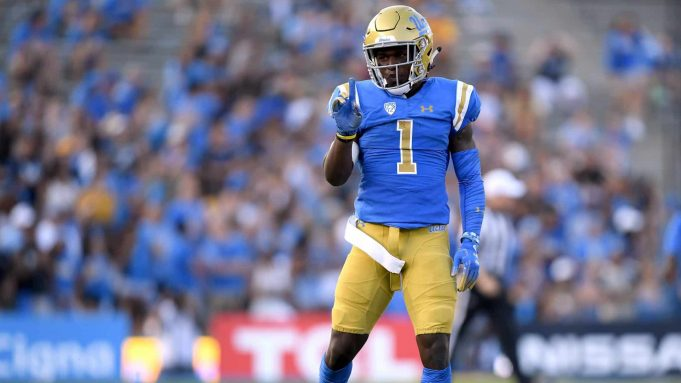 PASADENA, CA - SEPTEMBER 01: Darnay Holmes #1 of the UCLA Bruins reacts after breaking up a play against the Cincinnati Bearcats at Rose Bowl on September 1, 2018 in Pasadena, California.
