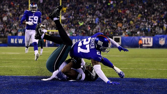 EAST RUTHERFORD, NEW JERSEY - DECEMBER 29: Josh Perkins #81 of the Philadelphia Eagles catches a 24 yard touchdown pass against Deandre Baker #27 of the New York Giants during the second quarter in the game at MetLife Stadium on December 29, 2019 in East Rutherford, New Jersey.