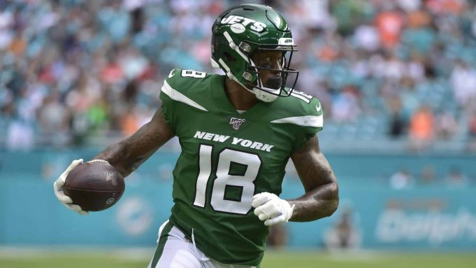 MIAMI, FL - NOVEMBER 03: Demaryius Thomas #18 runs upfield after a reception during the first quarter against the Miami Dolphins of the New York Jets at Hard Rock Stadium on November 3, 2019 in Miami, Florida.