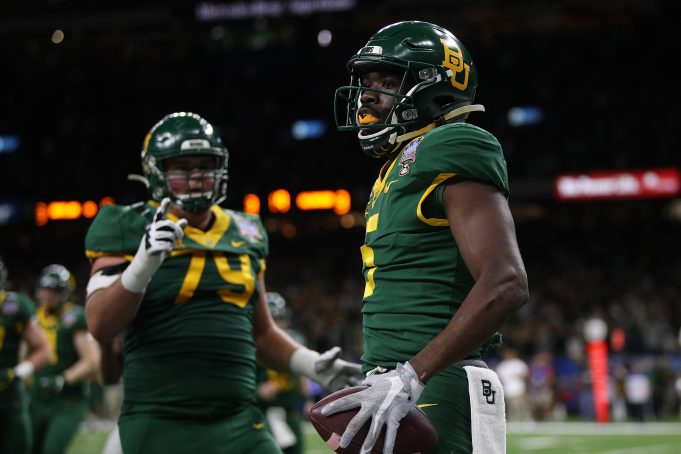 NEW ORLEANS, LOUISIANA - JANUARY 01: Denzel Mims #5 of the Baylor Bears reacts after a touchdown against the Georgia Bulldogs during the Allstate Sugar Bowl at Mercedes Benz Superdome on January 01, 2020 in New Orleans, Louisiana.