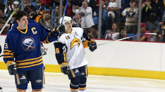 BUFFALO, NY - SEPTEMBER 16: Chris Drury #23 and Daniel Briere #48 of the Buffalo Sabres reveal two of their new uniform designs for the first time on September 16, 2006 at HSBC Arena in Buffalo, New York.