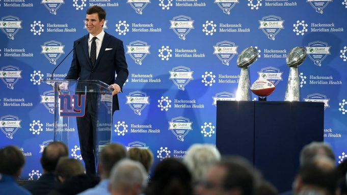 EAST RUTHERFORD, NEW JERSEY - JANUARY 24: Eli Manning of the New York Giants announces his retirement during a press conference on January 24, 2020 at Quest Diagnostics Training Center in East Rutherford, New Jersey. The two-time Super Bowl MVP is retiring after 16 seasons with the team.
