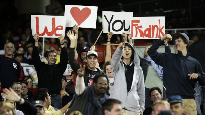 WASHINGTON - SEPTEMBER 30: Fans hold up signs to honor Manager Frank Robinson #20 of the Washington Nationals during the game against the New York Mets on September 30, 2006 at RFK Stadium in Washington, DC.