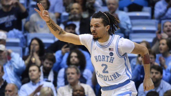 CHAPEL HILL, NORTH CAROLINA - MARCH 03: Cole Anthony #2 of the North Carolina Tar Heels reacts after making a three-point basket against the Wake Forest Demon Deacons during the first half of their game at the Dean Smith Center on March 03, 2020 in Chapel Hill, North Carolina.