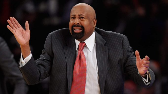NEW YORK, NY - DECEMBER 16: New York Knicks head coach Mike Woodson directs his team during the second half against the Washington Wizards at Madison Square Garden on December 16, 2013 in New York City. NOTE TO USER: User expressly acknowledges and agrees that, by downloading and/or using this photograph, user is consenting to the terms and conditions of the Getty Images License Agreement. The Wizards defeat the Knicks 102-101.