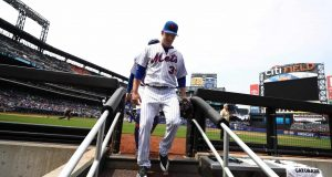 NEW YORK, NY - APRIL 27: Matt Harvey #33 of the New York Mets enters the dugout after the third inning against the Atlanta Braves during their game at Citi Field on April 27, 2017 in New York City.