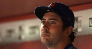 PHOENIX, AZ - MAY 15: Pitcher Matt Harvey #33 of the New York Mets sits in the dugout during the MLB game against the Arizona Diamondbacks at Chase Field on May 15, 2017 in Phoenix, Arizona