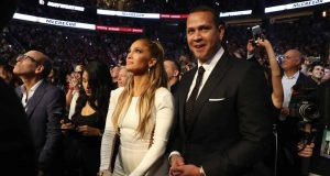 LAS VEGAS, NV - AUGUST 26: Actress Jennifer Lopez and former MLB player Alex Rodriguez attend the super welterweight boxing match between Floyd Mayweather Jr. and Conor McGregor on August 26, 2017 at T-Mobile Arena in Las Vegas, Nevada.
