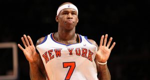 NEW YORK - JANUARY 17: Al Harrington #7 of the New York Knicks celebrates a three pointer against the Philadelphia 76ers on January 17, 2009 at Madison Square Garden in New York City, New York. NOTE TO USER: User expressly acknowledges and agrees that, by downloading and or using this photograph, User is consenting to the terms and conditions of the Getty Images License Agreement.