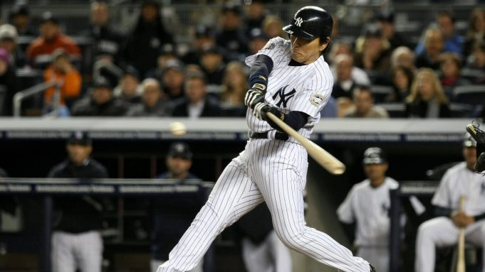 NEW YORK - NOVEMBER 04: Hideki Matsui #55 of the New York Yankees bats against the Philadelphia Phillies in Game Six of the 2009 MLB World Series at Yankee Stadium on November 4, 2009 in the Bronx borough of New York City.