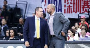SHENZHEN, CHINA - OCTOBER 12: Head coach Frank Vogel of the Los Angeles Lakers speaks to assistant coach Jason Kidd during the match against the Brooklyn Nets during a preseason game as part of 2019 NBA Global Games China at Shenzhen Universiade Center on October 12, 2019 in Shenzhen, Guangdong, China.