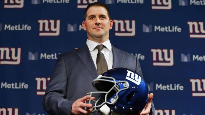 EAST RUTHERFORD, NJ - JANUARY 09: Joe Judge poses with a helmet after he was introduced as the new head coach of the New York Giants during a news conference at MetLife Stadium on January 9, 2020 in East Rutherford, New Jersey.