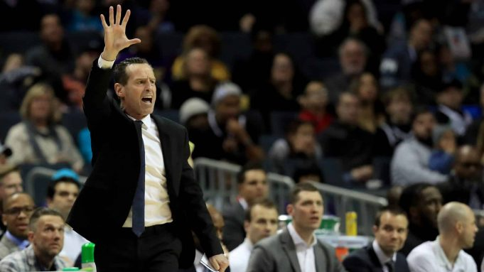 CHARLOTTE, NORTH CAROLINA - FEBRUARY 22: Head coach Kenny Atkinson of the Brooklyn Nets watches on against the Charlotte Hornets during their game at Spectrum Center on February 22, 2020 in Charlotte, North Carolina. NOTE TO USER: User expressly acknowledges and agrees that, by downloading and or using this photograph, User is consenting to the terms and conditions of the Getty Images License Agreement.