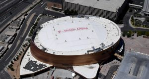 LAS VEGAS, NEVADA - MAY 21: An aerial view shows T-Mobile Arena, home of the NHL's Vegas Golden Knights, which has been closed since March 17 in response to the coronavirus (COVID-19) pandemic on May 21, 2020 in Las Vegas, Nevada. It is still unclear if the NHL will be able to finish the season that was paused as a result of COVID-19.