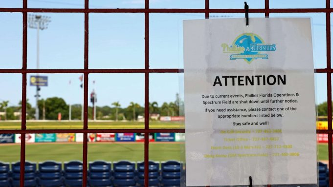 CLEARWATER, FLORIDA - MAY 20: A sign announces that Phillies Florida Operations and Spectrum Field, spring training home of the Philadelphia Phillies, have been shut down on May 20, 2020 in Clearwater, Florida. The Major League Baseball season remains postponed due to the COVID-19 pandemic.