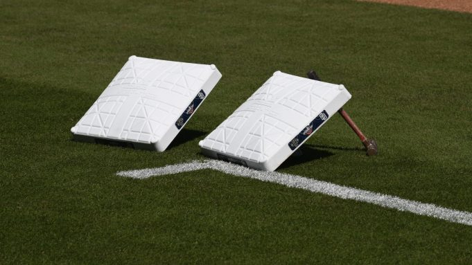 SAN DIEGO, CA - MARCH 28: Bases with the Opening Day logo sit on the field before the game between the San Diego Padres and the San Francisco Giants on Opening Day at Petco Park March 28, 2019 in San Diego, California.