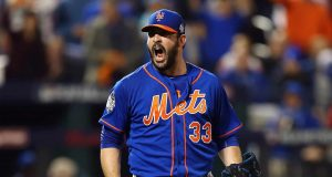 NEW YORK, NY - NOVEMBER 01: Matt Harvey #33 of the New York Mets reacts during Game Five of the 2015 World Series against the Kansas City Royals at Citi Field on November 1, 2015 in the Flushing neighborhood of the Queens borough of New York City.