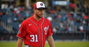 WEST PALM BEACH, FLORIDA - FEBRUARY 22: Max Scherzer #31 of the Washington Nationals heads to the bullpen to warm up priro to the spring training game against the Houston Astros at FITTEAM Ballpark of the Palm Beaches on February 22, 2020 in West Palm Beach, Florida.