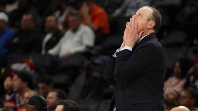 WASHINGTON, DC - MARCH 10: Head coach Mike Miller of the New York Knicks reacts against the Washington Wizards during the first half at Capital One Arena on March 10, 2020 in Washington, DC.