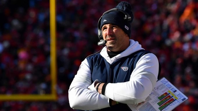KANSAS CITY, MISSOURI - JANUARY 19: Head coach Mike Vrabel of the Tennessee Titans looks on in the first half against the Kansas City Chiefs in the AFC Championship Game at Arrowhead Stadium on January 19, 2020 in Kansas City, Missouri.