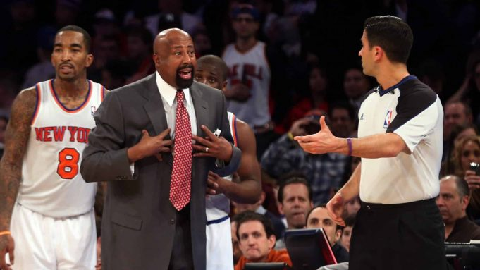 NEW YORK, NY - DECEMBER 21: Head coach Mike Woodson of the New York Knicks argues a call in the game against the Chicago Bulls at Madison Square Garden on December 21, 2012 in New York City. NOTE TO USER: User expressly acknowledges and agrees that, by downloading and/or using this photograph, user is consenting to the terms and conditions of the Getty Images License Agreement.