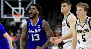 JACKSONVILLE, FLORIDA - MARCH 21: Myles Powell #13 of the Seton Hall Pirates reacts in the second half against the Wofford Terriers during the first round of the 2019 NCAA Men's Basketball Tournament at Jacksonville Veterans Memorial Arena on March 21, 2019 in Jacksonville, Florida.