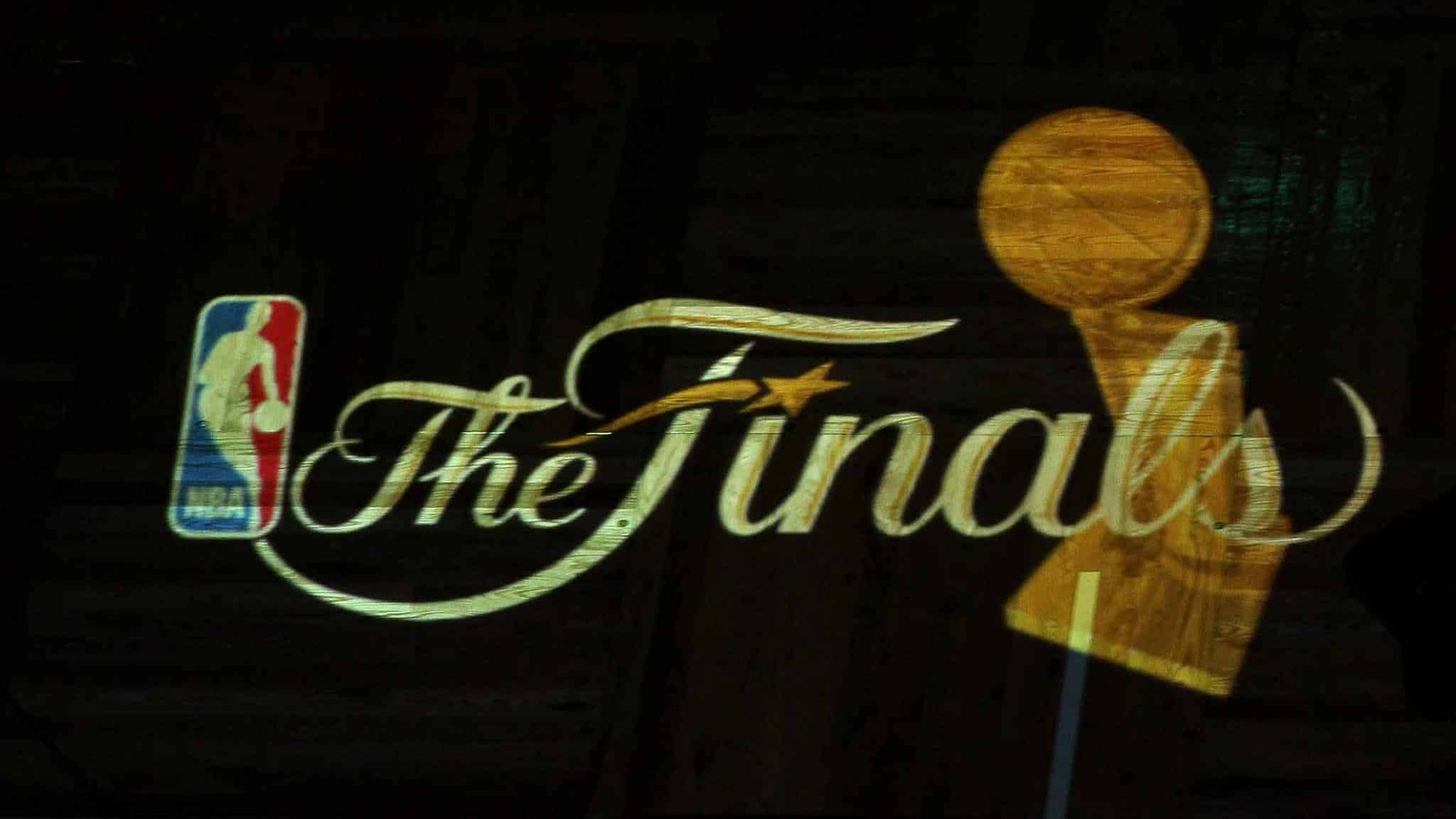 BOSTON - JUNE 10: A detail of the finals logo being projected on the court floor as the Los Angeles Lakers get set to play against the Boston Celtics during Game Four of the 2010 NBA Finals on June 10, 2010 at TD Garden in Boston, Massachusetts. NOTE TO USER: User expressly acknowledges and agrees that, by downloading and/or using this Photograph, user is consenting to the terms and conditions of the Getty Images License Agreement.