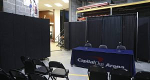 WASHINGTON, DC - MARCH 10: A general view of a new post-game interview area prior to the New York Knicks playing the Washington Wizards at Capital One Arena on March 10, 2020 in Washington, DC. According to the NBA, the league has banned nonessential team personnel from the locker room, including media, because of the coronavirus. NOTE TO USER: User expressly acknowledges and agrees that, by downloading and or using this photograph, User is consenting to the terms and conditions of the Getty Images License Agreement. (