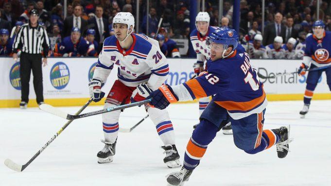 NEW YORK, NEW YORK - FEBRUARY 25: Josh Bailey #12 of the New York Islanders skates against the New York Rangers at NYCB Live's Nassau Coliseum on February 25, 2020 in Uniondale, New York. The Rangers defeated the Islanders 4-3 in overtime.
