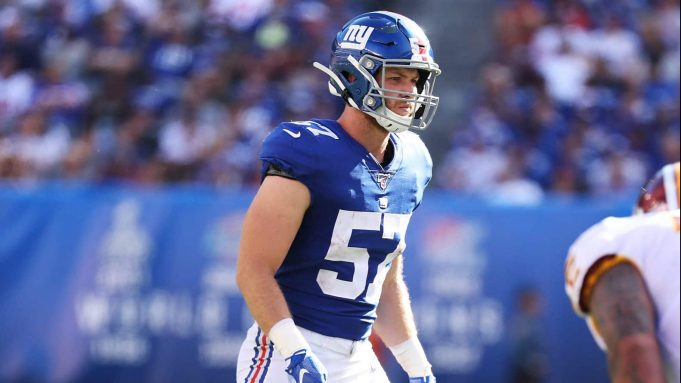EAST RUTHERFORD, NEW JERSEY - SEPTEMBER 29: Ryan Connelly #57 of the New York Giants in action against the Washington Redskins during their game at MetLife Stadium on September 29, 2019 in East Rutherford, New Jersey.