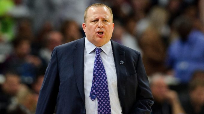 MINNEAPOLIS, MN - OCTOBER 20: Head coach Tom Thibodeau of the Minnesota Timberwolves looks on during the game against the Utah Jazz on October 20, 2017 at the Target Center in Minneapolis, Minnesota. The Timberwolves defeated the Jazz 100-97. NOTE TO USER: User expressly acknowledges and agrees that, by downloading and or using this Photograph, user is consenting to the terms and conditions of the Getty Images License Agreement.