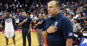 LAS VEGAS, NV - AUGUST 13: Assistant coach Tom Thibodeau of the 2015 USA Basketball Men's National Team stands on the court as the American national anthem is performed before a USA Basketball showcase at the Thomas & Mack Center on August 13, 2015 in Las Vegas, Nevada.