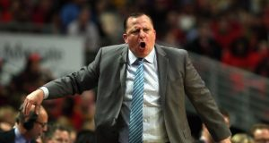 CHICAGO, IL - MAY 10: Head coach Tom Thibodeau of the Chicago Bulls yells at a referee against the Cleveland Cavaliers in Game Four of the Eastern Conference Semifinals of the 2015 NBA Playoffs at the United Center on May 10, 2015 in Chicago, Illinois. NOTE TO USER: User expressly acknowledges and agress that, by downloading and or using the photograph, User is consenting to the terms and conditions of the Getty Images License Agreement.