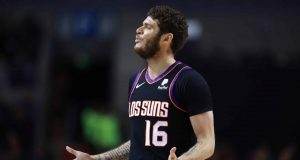 MEXICO CITY, MEXICO - DECEMBER 14: Tyler Johnson #16 of the Phoenix Suns reacts during a game between San Antonio Spurs and Phoenix Suns at Arena Ciudad de Mexico on December 14, 2019 in Mexico City, Mexico.