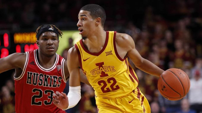 AMES, IA - NOVEMBER 12: Tyrese Haliburton #22 of the Iowa State Cyclones drives the ball as Tyler Cochran #23 of the Northern Illinois Huskies puts pressure on in the second half of play at Hilton Coliseum on November 12, 2019 in Ames, Iowa. The Iowa State Cyclones won 70-52 over the Northern Illinois Huskies.