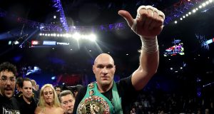 LAS VEGAS, NEVADA - FEBRUARY 22: Tyson Fury celebrates his win by TKO in the seventh round against Deontay Wilder in the Heavyweight bout for Wilder's WBC and Fury's lineal heavyweight title on February 22, 2020 at MGM Grand Garden Arena in Las Vegas, Nevada.