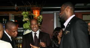 """NEW ORLEANS - FEBRUARY 16: Jay-Z, William """"Worldwide"""" Wesley and LeBron James attend the 2nd Annual Jay-Z and LeBron James Two Kings Dinner presented by Doublemint Gum at the 2008 NBA All-Star Game February 16, 2008 at Generation Hall in New Orleans, Louisiana."""