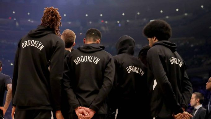 NEW YORK, NEW YORK - JANUARY 26: The Brooklyn Nets stands together before the opening tipoff against the New York Knicks at Madison Square Garden on January 26, 2020 in New York City.