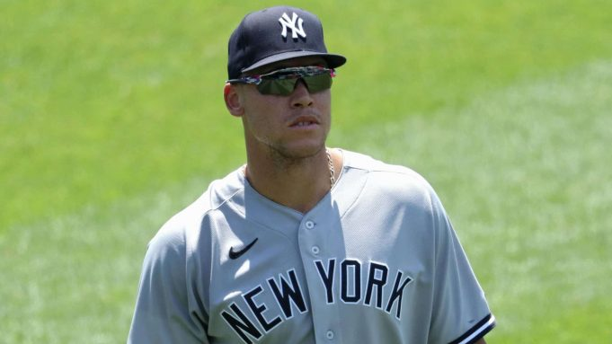 WASHINGTON, DC - JULY 26: Aaron Judge #99 of the New York Yankees looks on against the Washington Nationals during the fourth inning at Nationals Park on July 26, 2020 in Washington, DC.